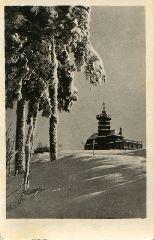 Historická pohlednice chaty s rozhlednou