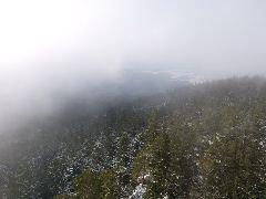 3.1.2010 Výhled z rozhledny, díky mlze byla vidět jen část samotného Sedla [autor: Pavel Vondrášek]